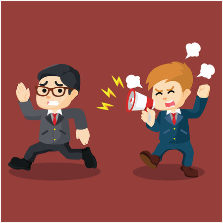 yelling: yelling angry with running employee Illustration