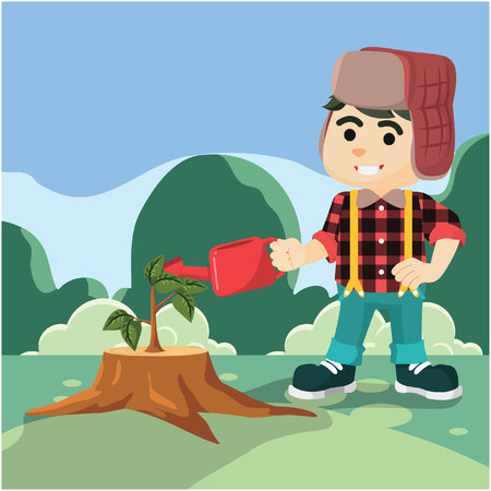 lumberjack grows sprout  illustration design