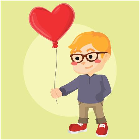 timid: a boy shy holding heart balloon