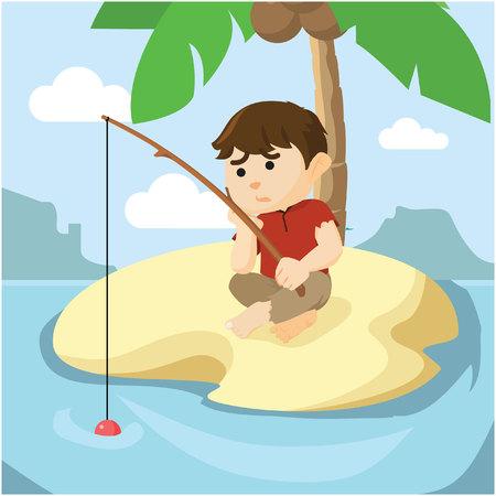 a boy was fishing 일러스트