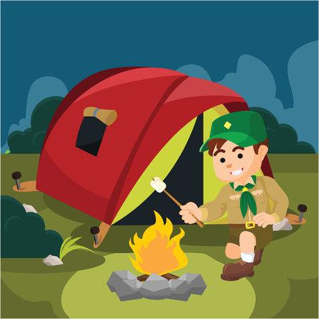 scout: a boy scout campfire Illustration