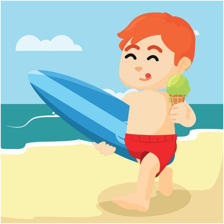 eating ice cream: boy eating ice cream on beach