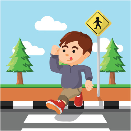 crossing the street  illustration design