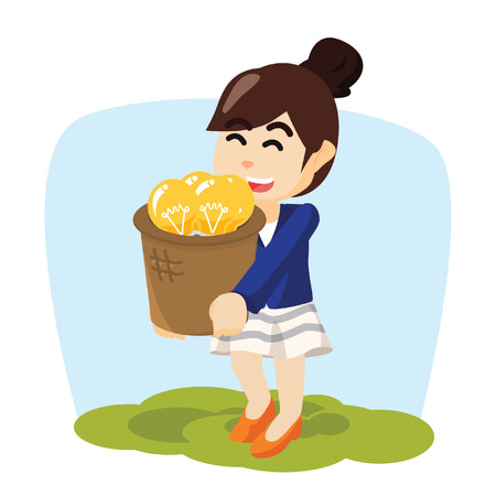 bucket of money: woman carrying a basket of innovation Illustration
