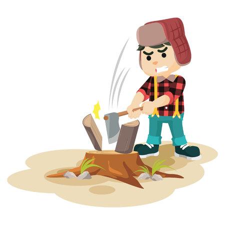lumber: lumberjack cutting lumber  illustration design Illustration