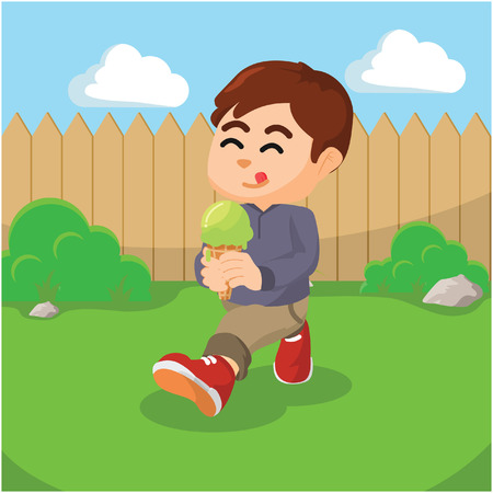 licking in isolated: boy eating ice cream Illustration