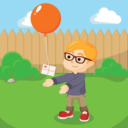 sending: girl sending mail with balloon