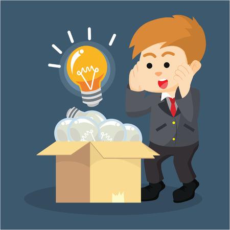 empresarios consideran una bombilla de luz brillante