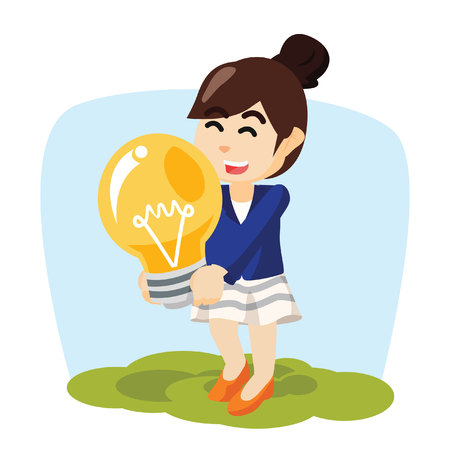 immagination: girl hold giant bulb and cheerful