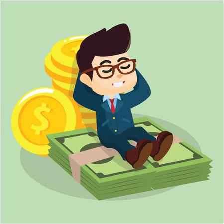 lie down: businessmen laying on money Illustration