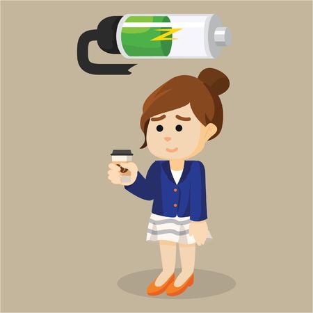 recharging: girl recharging battery illustration design Illustration