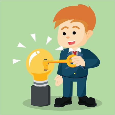 unlocking: businessmen unlocking bulb  illustration design