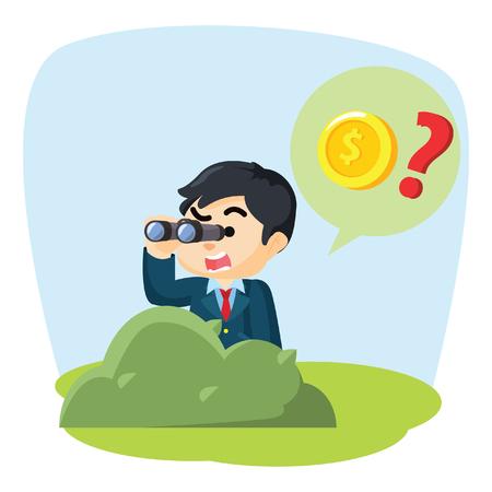 binocular: boy searching coin with binocular