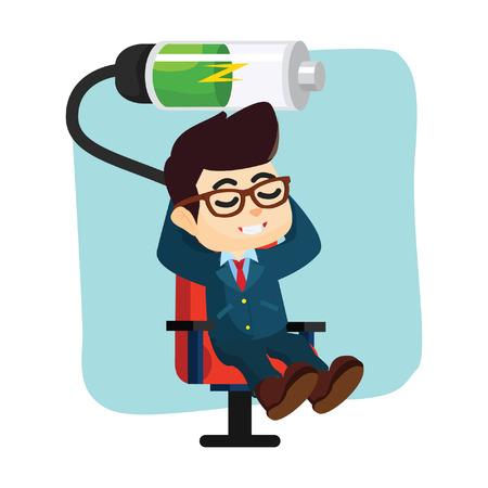 recharging: businessmen relaxing recharging battery