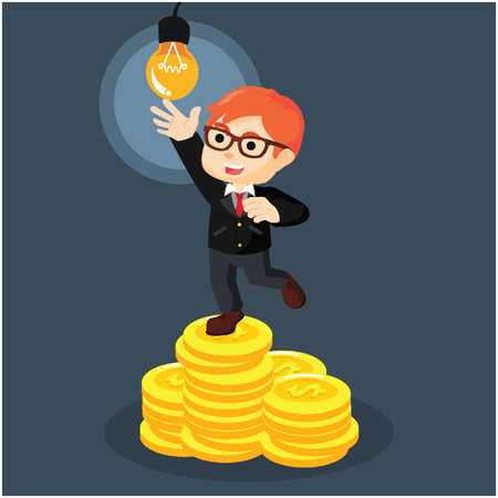 coin stack: businessmen on coin stack