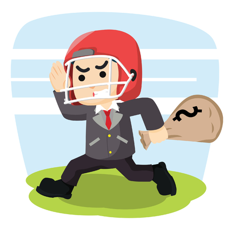 footbal: a businessman with footbal helmet carry money shack