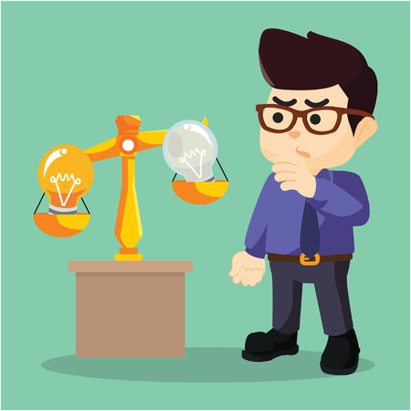 A businessman was weighing scaling you an idea Illustration