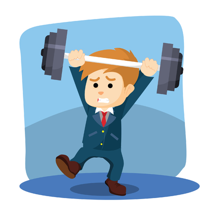 unbalanced: a businessman was lifted weights unbalanced dumbell