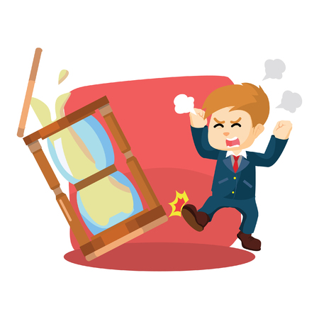 kick out: A businessman angry and kicked the hourglass Illustration
