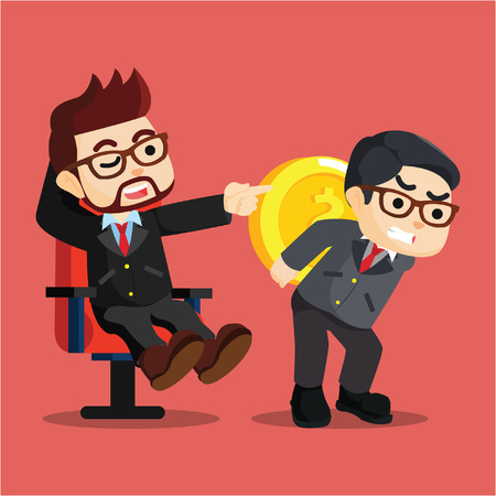 was: businessman an employee was told to hold coins Illustration