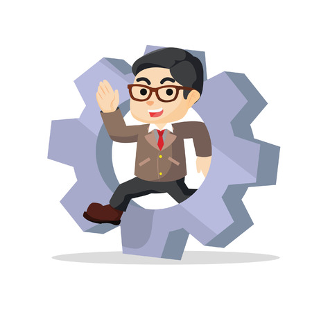 businessman jumping: a businessman jumping on giant gear roundabout Illustration