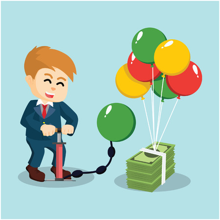 inflating: A businessman is pumping the balloon to blow money