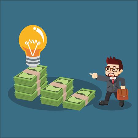 doorstep: a businessman sitting on the doorstep of money to get an idea Illustration
