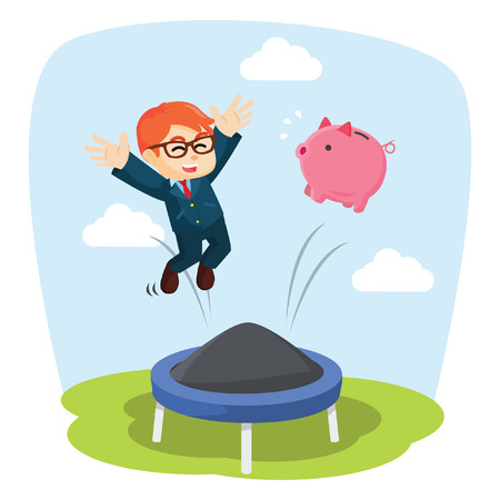 businessman jumping: Businessman jumping on a trampoline together with pig bank