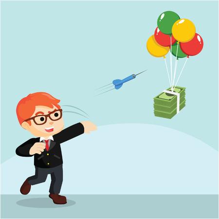earn money: a businessman throwing darts to earn money