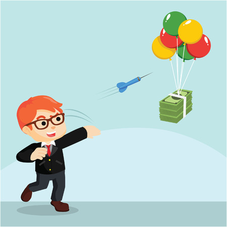 a businessman throwing darts to earn money
