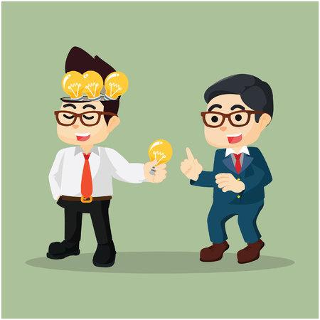 shared sharing: An Entrepreneur share bulb to a businessman