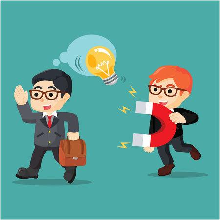 entrepreneurs: a businessman stealing more entrepreneurs ball Illustration