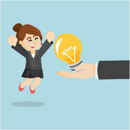 entrepreneurs: Women entrepreneurs are glad to have the bulb Illustration