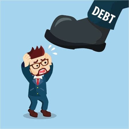 cowardice: a businessman scared with massive legs debt Illustration