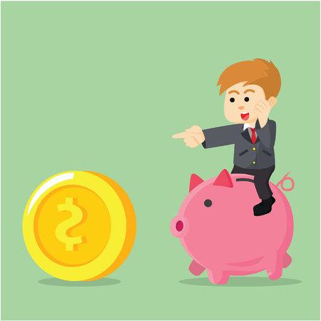 unrecognizable person: A Businessman was riding piggy bank to catch coins
