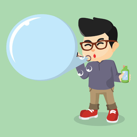 glasess: man blowing bubbles text Illustration