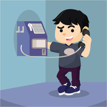payphone: Boy using pay phone coin