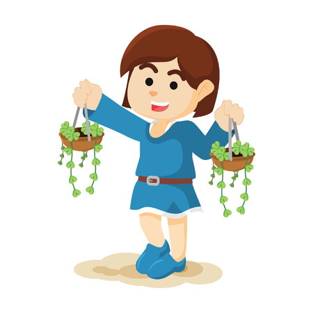 carrying: Girl carrying plant Illustration