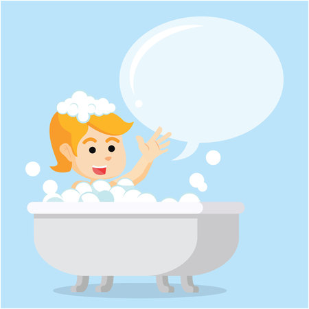 cheerfull: a girl in bathtub cheerfull with callout