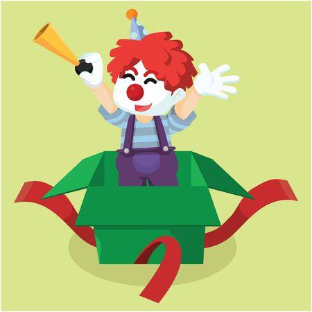 surprise box: Clown with surprise box