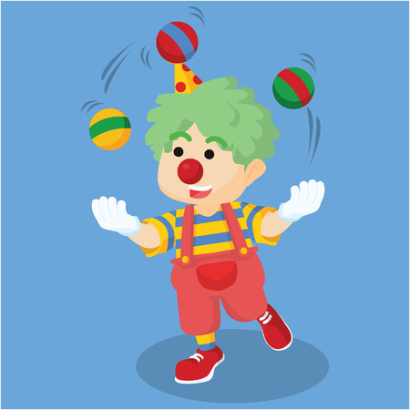 juggle: Clown boy juggling ball