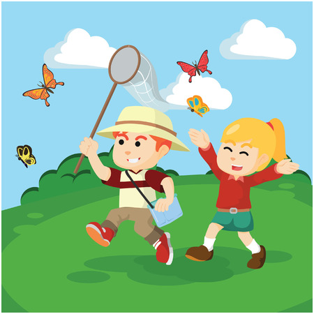 catching: boy and girl catching butterflies together Illustration