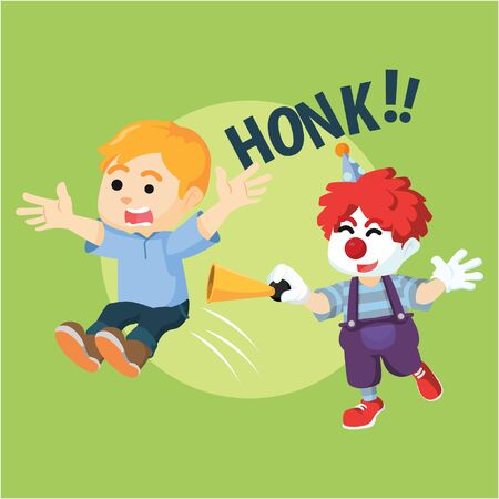 honking: Boy suprised with clown