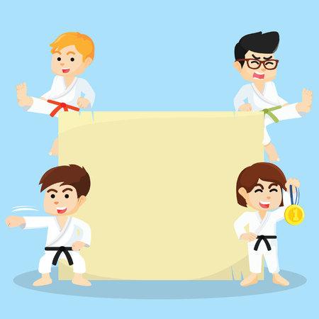 group of kids: karate kids and sign Illustration