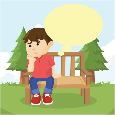 bench alone: boy sitting on bench thinking