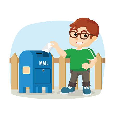 sending: Boy sending mail Illustration