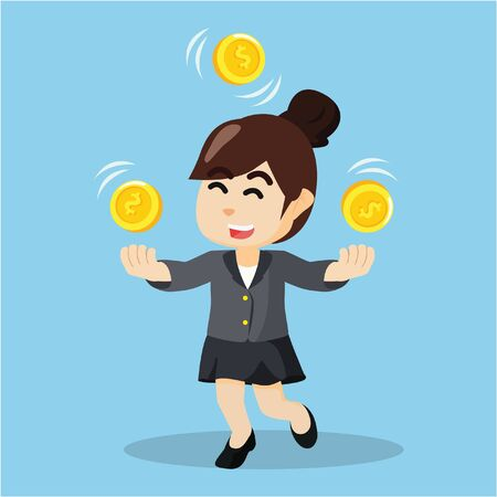 businesswoman juggling with coins Illustration