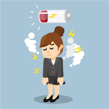 Business woman No Power  イラスト・ベクター素材