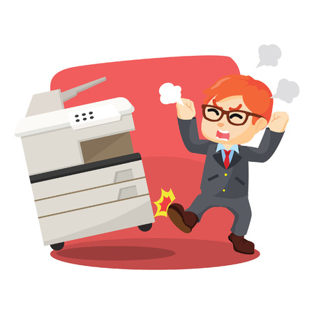 Angry businessman kicking photocopy machines