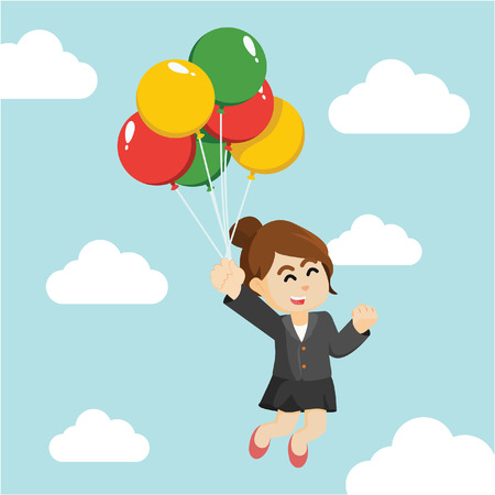 businesswoman flying with balloons Illustration